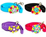 Flower Power Pretty Dog Lead Designer Accessory with sparkly rhinestone Long strong fabric leash for xsmall small and medium dogs Available with matching harness
