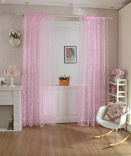 Sharplace Rosa Voile Vorhang Tüll Vorhänge Transparent Dekosachal für Kinderzimmer Wohnzimmer 100 x200cm