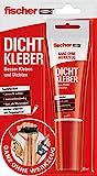 Fischer 545862 Dicht, 1x Kleb-und Dichtstoff, 80ml, Innen-und Außenbereich, wasserbeständig, Rot, Weiß