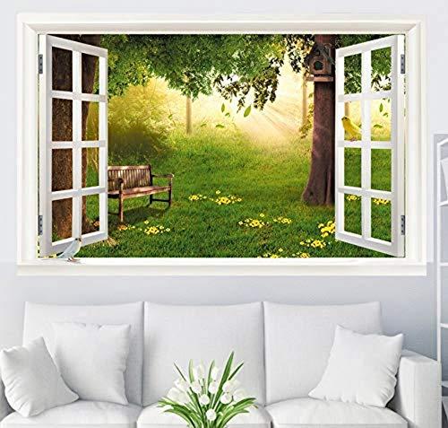 Applique Wandbild Decoration3D Simulation Gefälschte Fenster Dekorative Malerei Wand Linden Garten Landschaft Aufkleber 125X80 Cm Linden Wallpaper