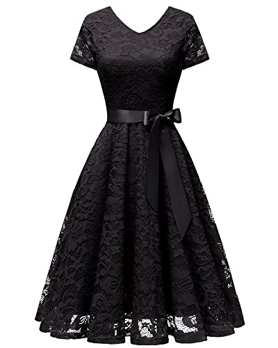 bridesmay Damen 50S Retro Spitzenkleid Kurzarm Elegant Cocktail Abendkleid Black 2XL