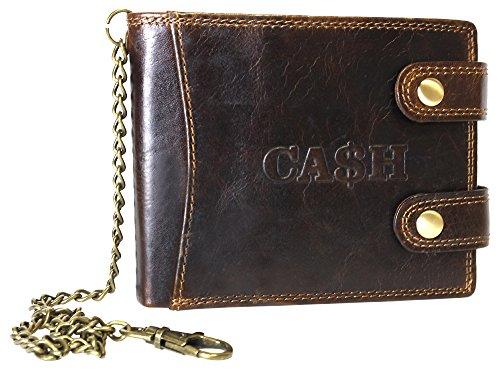 Ca$H Portemonnaie Herren Geldbörse mit Kette Biker Geldbörse Wallet Brieftasche 100% Leder in schwarz oder braun Portmonee Querformat mit Kette dunkelbraun (5609)