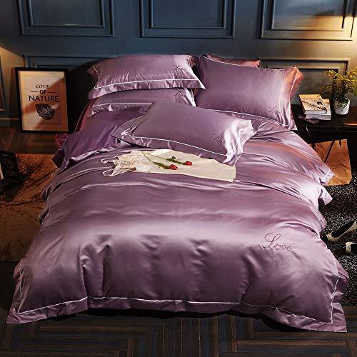 XXTT 4 Stück Bettwäsche 100% Baumwolle Bettbezug Bettwäsche Bettbezug Königin Seide Bettbezug Kissenbezüge Set,Pink,XL -