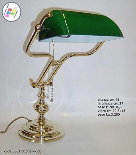 Lampe Luxus Made Italy Messing poliert massiv Churchill Studio Schreibtisch Sekretär Möbel New cm.48 -