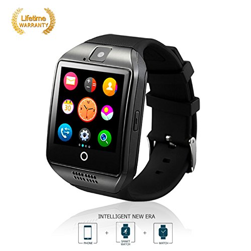 Bluetooth Smart Watches Sports Pedometer Activity Fitness Tracker Smart Watch with Touch Screen SIM Card and TF Card for Android & iOS phone Men Women Kids - Black