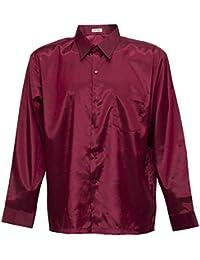 773315f8f75f9 Tashisun Camiseta para Hombre de Manga Larga de Seda tailandesa Rojo