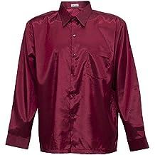Hombres camisa de manga larga de seda tailandesa de Borgoña, granate, ...