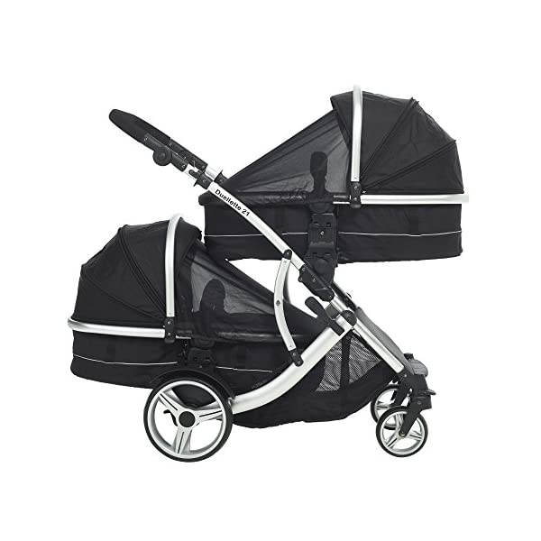 Duellette 21 Combo Twin Tandem Pushchair Baby Newborn carrycots Pram Travel system : 2 Pramette/seat units, 2 FREE Black footmuffs 2 Rain covers, Midnight Black by Kids Kargo Kids Kargo Demo video please see link https://www.youtube.com/watch?v=X_tEcnQ8O8E Compatible with car seats; Kids Kargo, Britax Baby safe or Maxi Cosi adaptors. Versatile. Suitable for Newborn Twins: Both carrycots have mattress and soft lining, which zip off. Remove lining and lid, when baby grows out of carrycot mode. Converts to a full sized seat unit, with 5 point harness. 8