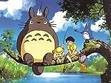 Close Up Impression d'art Mon Voisin Totoro - Totoro à la pêche (40cm x 30cm)