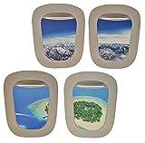 Unbekannt 4 tlg. XL Set: Wandtattoo / Sticker - Fenster im Flugzeug Karibik + Alpen - Landschaft Urlaub Bullauge - Wandsticker Aufkleber Flugzeug Wandaufkleber Badezimm..