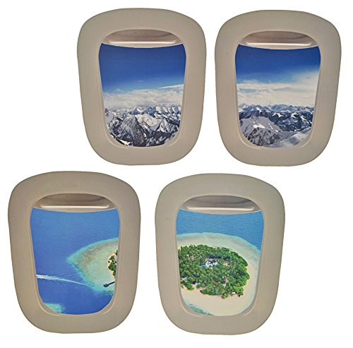 Preisvergleich Produktbild 4 tlg. XL Set: Wandtattoo / Sticker - Fenster im Flugzeug Karibik + Alpen - Landschaft Urlaub Bullauge - Wandsticker Aufkleber Flugzeug Wandaufkleber Badezimmer Fische