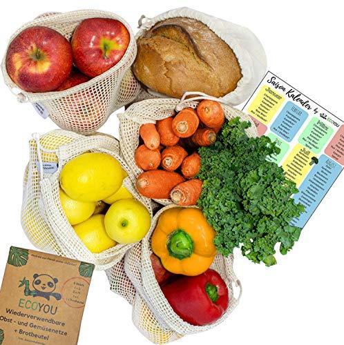 EcoYou Wiederverwendbare Obst- & Gemüsebeutel aus Bio Baumwolle 5er Set Inkl. Brotbeutel & SAISONKALENDER - Nachhaltige Einkaufsnetze Obst- & Gemüsenetze mit Gewichtsangabe -
