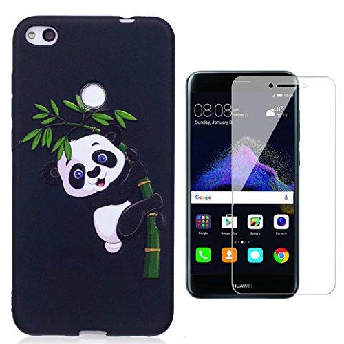 Cover Huawei P8 Lite (2017), Yoowei® 0.8mm Estremamente Sottile Morbido TPU Silicone Gel Gomma Case Posteriore Della Copertura Della Protezione Antiurto Anti-Graffio per Huawei P8 Lite (2017), Nero Little Panda
