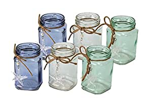 6er set windlicht teelichterglas maritim for Geschenktrends shop
