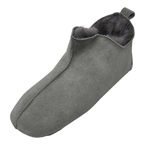 Lammfell Hausschuhe - Bali Fellschuhe Lederschuhe Bettschuhe Puschen Größe EUR 44, Farbe Grau