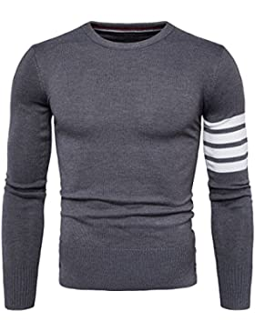 HY-Sweater Jersey Coreana Cuello Redondo Hombres Chandail Caliente Sort Color, Dark Gray, XXL
