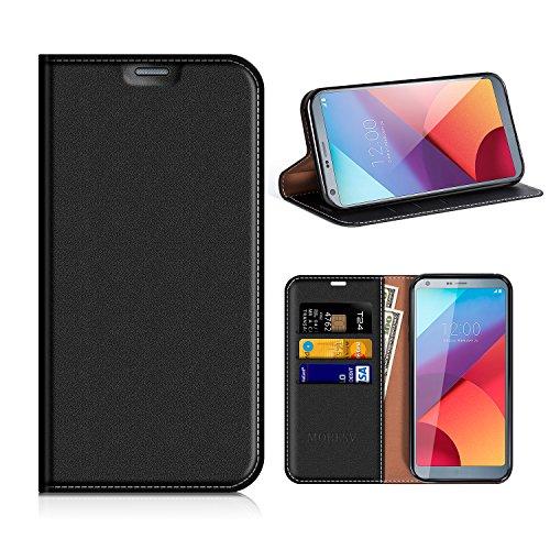 MOBESV LG G6 Hülle Leder, LG G6 Tasche Lederhülle/Wallet Case/Ledertasche Handyhülle/Schutzhülle mit Kartenfach für LG G6 - Schwarz