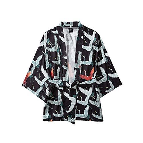 Girl Kimono Kostüm - SEHRGUTGE Japanischer Kranich Bedruckte Strickjacken - Japanisches Yukata Kimono-Kostüm - Übergroßer Morgenmantel mit Robe und Schlafanzug, für Herren/Damen - Größe M-XXL