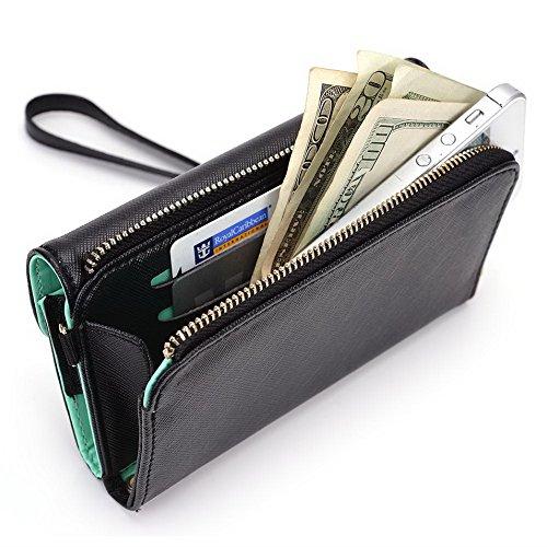 Kroo d'embrayage portefeuille avec dragonne et sangle bandoulière pour Smartphone Nokia X Rouge/vert Black and Green