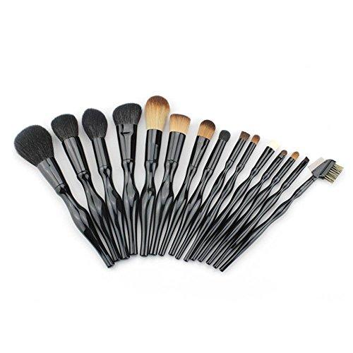RY@ Make Pinceaux, 15 Pcs Professional Maquillage Cosmétique Tool Kit Brush Set Poudre Visage Ombre à paupières Eyeliner Blusher (noir)