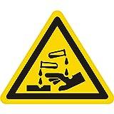 Warnzeichen W023 - Warnung ätzende Stoffe - Seitenlänge 100 mm - 2 Warnschilder aus Vinyl Folie, gelb, permanent haftend