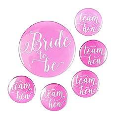 Idea Regalo - Team Hen, 1 spilla per la sposa e 5 spille per festa di addio al nubilato (taglia unica), colore: rosa (lingua italiana non garantita)