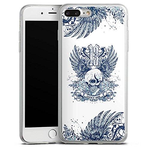 Apple iPhone 8 Slim Case Silikon Hülle Schutzhülle Totenkopf Tattoo Flügel Silikon Slim Case transparent