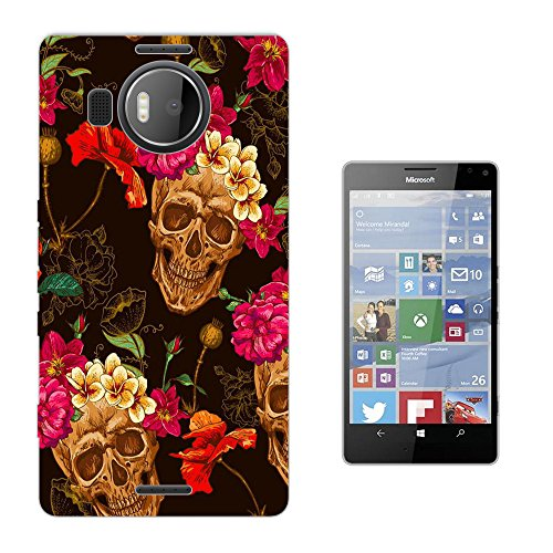 002964 - Skull Head Flower Headband Walking Dead Design Microsoft Nokia Lumia 950 XL Fashion Trend Silikon Hülle Schutzhülle Schutzcase Gel Rubber Silicone Hülle