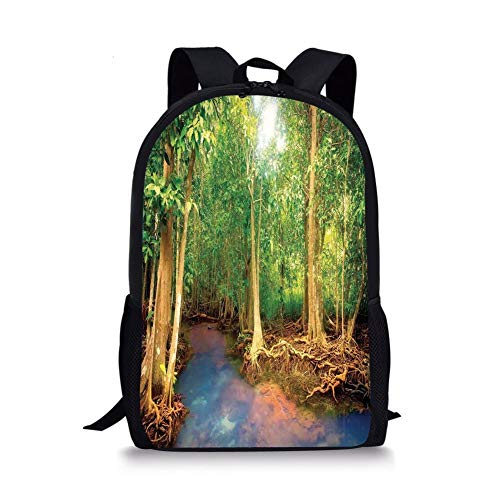 School Bags Rainforest Decorations,Roots of Mangrove Trees with Turquoise Creek Asian Nature Wildlife Decoration,Green Brown for Boys&Girls Mens Sport Daypack