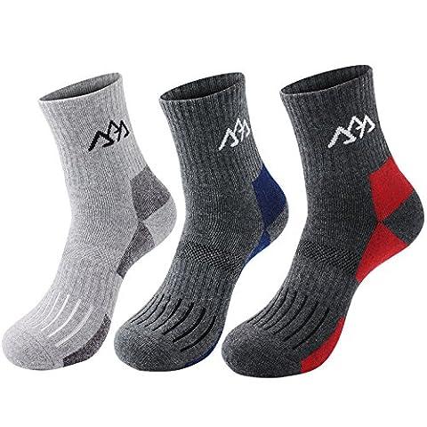 Warm Coolmax Hiking Crew Socks 3 Pairs - Outdoor Trekking Sock with Moisture Wicking Cushioned Padding Design - Cotton Walking Socks Fit for Trekker Camping Climbing Athletic Running Sports Mens Size UK 6-8 EUR 39-43