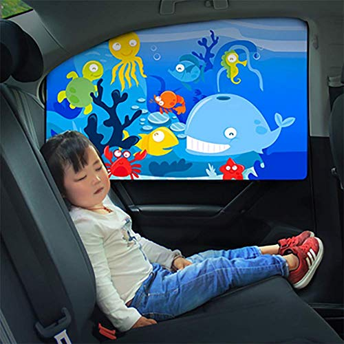 HXA Auto-Sonnenschutz - Sonnenschutz Auto Baby/Kinder (1-4Stück), Doppelseitiges UV Schutz Autofenster Sonnenschutz,Backside*2