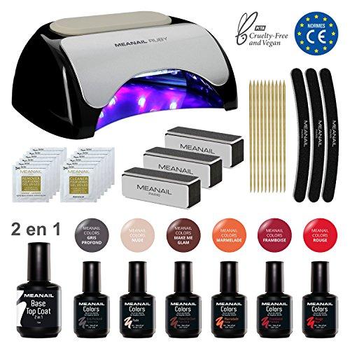Meanail UV LED Lampara secador de uñas UV Gel de uñas Manicura uñas Set manicura Kit Decoración para uñas Nail factory Edition Ruby