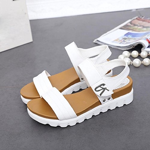 Xmansky Frau Sommer Sandalen Mode Gemütlich Weiß