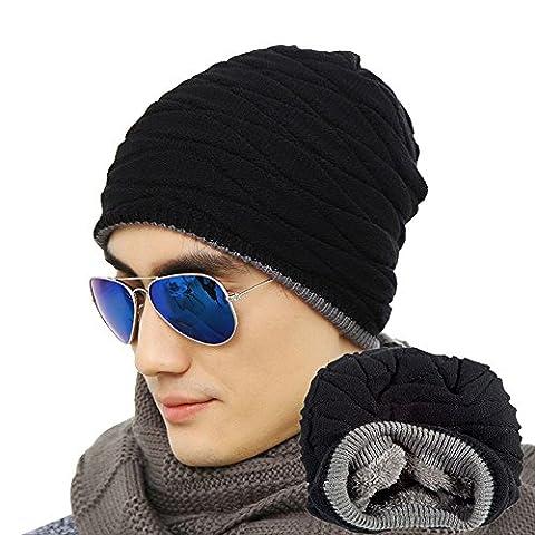 Eizur Hommes souple doublé Tricoter Crâne Chapeau Beanie Hiver épais Chaud Slouchy Bonnet