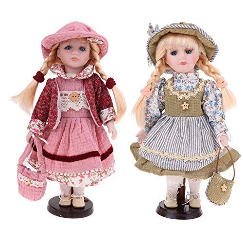 FLAMEER 2 Stücke 30 cm Schöne Porzellan Mädchen Puppe Viktorianischen Mit Kleid und Ständer Kinder Spielzeug Geschenke