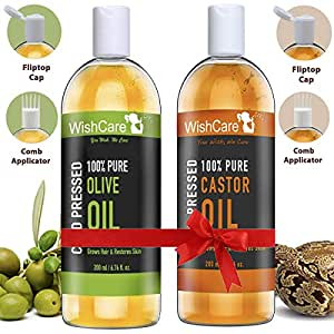 WishCare Hexane-free Cold Pressed Castor and Olive Carrier Oil for Hair and Skin (200 ml Each)