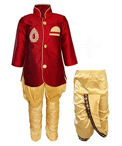 JBN Creation Boys Cotton Silk Kurta and Pyjama Set (Maroon_VASBCO015_12-18 Months)