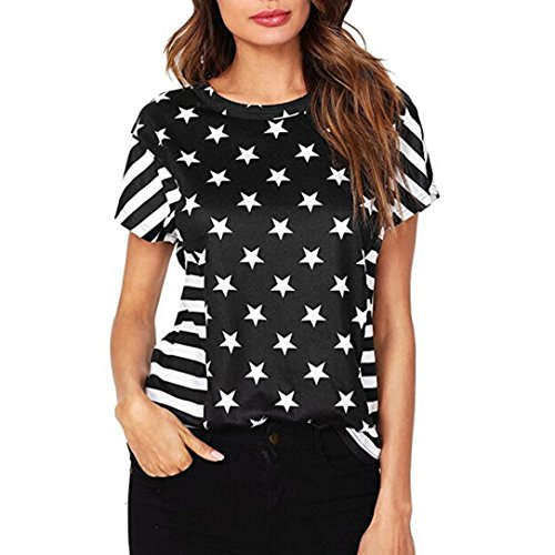 IMJONO T-Shirts Frauen Sommer Amerikanische Flagge Print Tops Kurzarm Bluse(Schwarz,EU-36/CN-M)