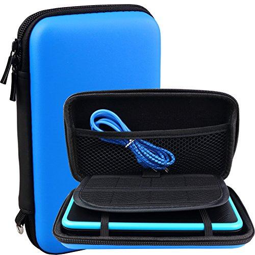 Exlene® Nintendo 2DS XL/ LL EVA Funda de transporte Bolsa + 3M usb cable de carga, para Nintendo 2DS XL/ 3DS/ 3DS XL,Con 8 titulares de cartuchos de juego (Azul)