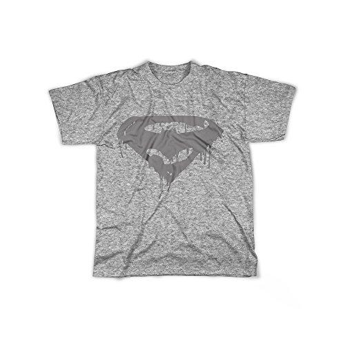 Männer T-Shirt mit Aufdruck in Grau Gr. XXXL Superhelden Logo Design Boy Top Jungen Shirt Herren Basic 100% Baumwolle Kurzarm