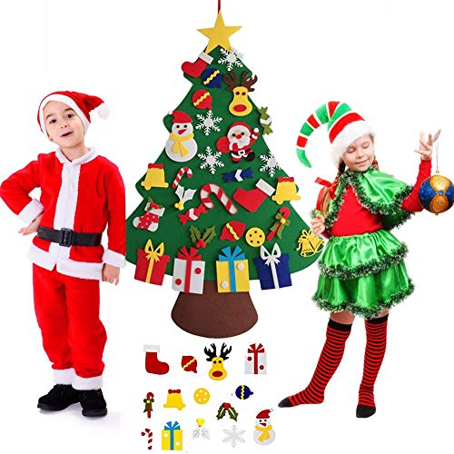 knowledgi Felt Christmas Tree Set 3.4ft DIY Christmas Tree with 30Pcs Ornaments for Kids Home Door Wall Decoration -