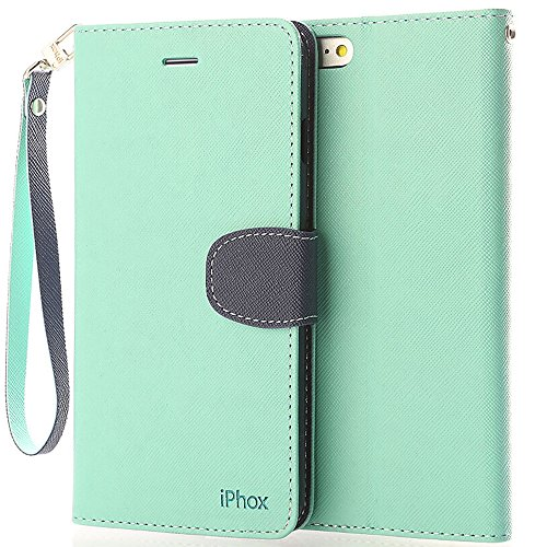 Price comparison product image iPhone 6S Leather Case,iPhone 6 Leather Case, IPHOX Premium Folio Leather Wallet Case with [Kickstand] [Card Slots] [Magnetic Closure] [Hand Strap] Flip Notebook Cover Case for iPhone 6/6S-GR/BU