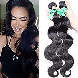 XYLUCKY IndiaBody capelli dell'onda delle tende 3 Bundles100% India estensione dei capelli umani non trattati nero di colore naturale per le donne , 12 14 16