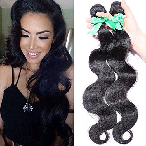 Meylee IndiaBody Wave Hair Curtains 3 Bundles100% Inde Extension de Cheveux Humains Non transformé Couleur Naturelle Noire pour Femmes, 20 22 24