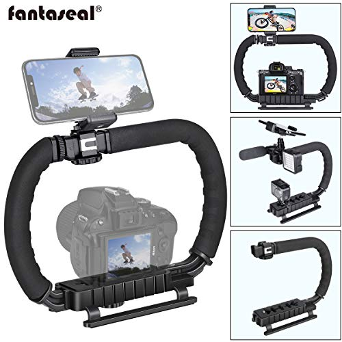 DSLR/Systemkamera/Action Kamera Camcorder Phone Stabilisator 3-Schuh 2 Handhalter Vlog Video Halter Rig Low Position Aufnahmen Abnehmbar Montage Handgriff für GoPro Sony Canon Nikon DV iPhone Samsung
