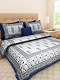 JAIPUR PRINTS Cotton Rajasthani Printed King Size Double Bedsheet with 2 Pillow Covers(Multicolour)
