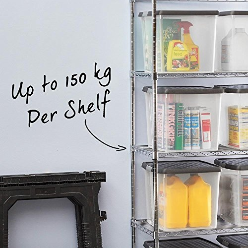 Chrome Shelving Unit with 3 Shelves - H1200 x W1200 x D450 mm. 4ft High Robust Shelving Ideal for Storage in the Kitchen, Stockroom, Garage, Office, Shop and more