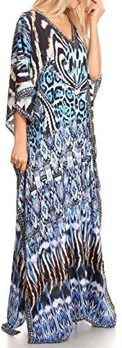Sakkas Anahi Flowy Design V collo lungo vestito caftan / copertura in su con strass 17173-Nero / Bianco / Turco