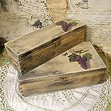 Vintage Weinholzkasten Landhaus Weintruhe Shabby Holz Holzkisten Dekokisten Holztruhe Weinkiste mit Deckel versch. Größen Weintrauben Set