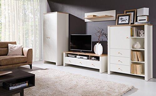 Home Direct Berg, Elegantes Wohnzimmer, Schöne Wohnzimmerschränke, Wohnzimmermöbel, Regal, Fernsehtisch, Creme-Gold-Eiche
